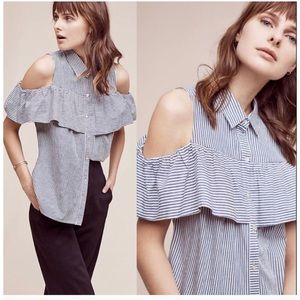 Anthropologie Striped cold shoulder blouse